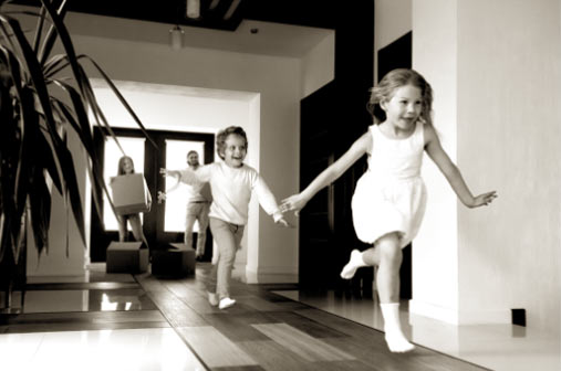kids playing in spacious interior